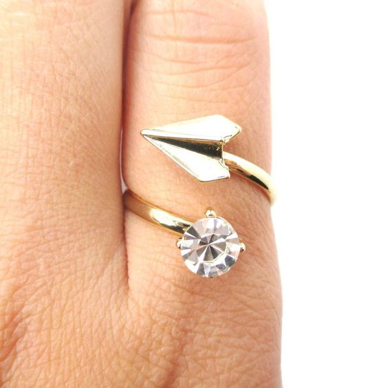 Adjustable Origami Paper Airplane Wrap Ring in Gold with Rhinestone Detail