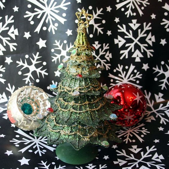 Vintage Christmas Tree Metal Green Glitter Holiday Decorations by springcreekboutique