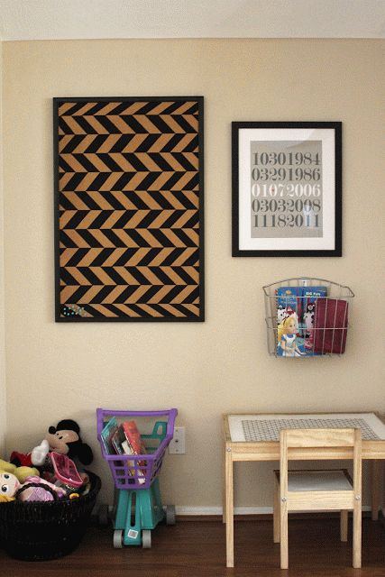 Herringbone Painted Cork Bulletin Board. Great idea for hanging kid's art. It looks good even when empty!: