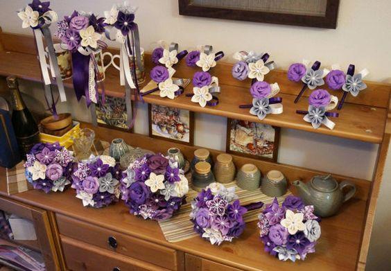 Custom Wedding Kusudama Origami Paper Flower Package - Bouquets, Bridesmaid Bouquet, Dark Purple, ivory Silver