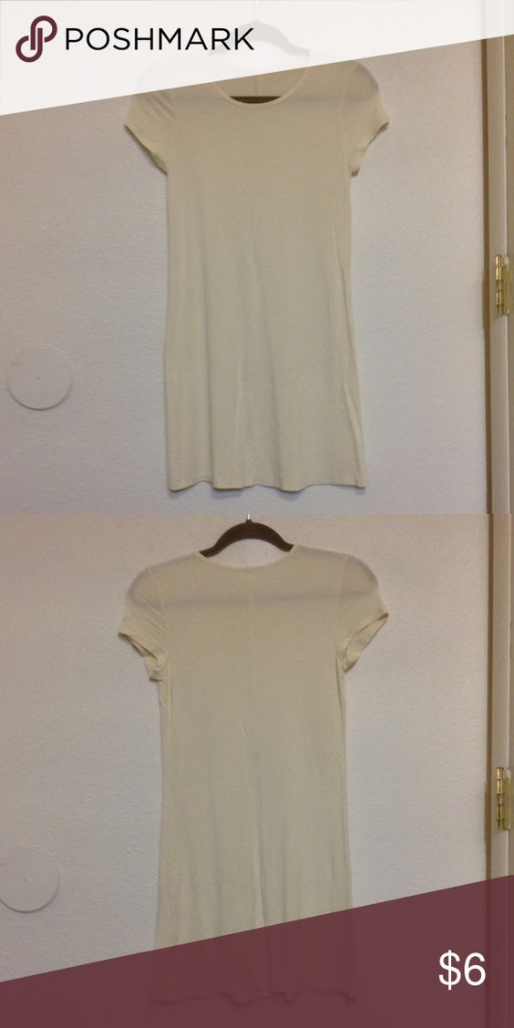 Cream T-shirt Dress Size 6 Cream/off-white t-shirt dress. Hits just above knee length. Worn once. ASOS Dresses