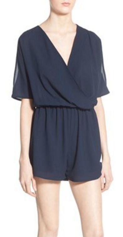 Elegant Navy Romper with Exposed Shoulder Sleeves
