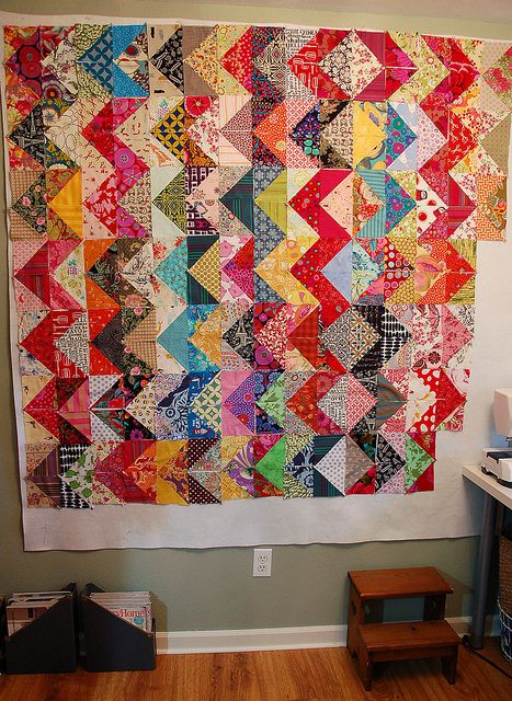 Scrappy Zig Zag. Some day, I will have enough scraps to make one of these in a rainbow.