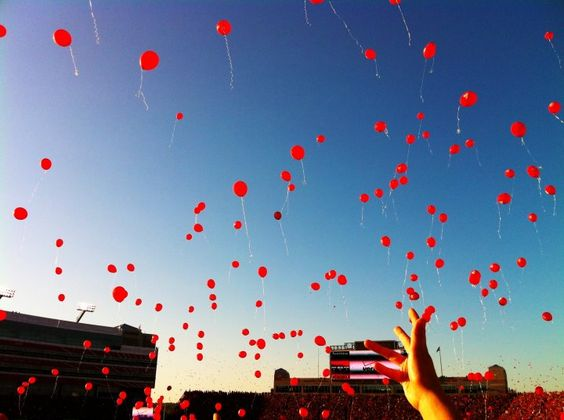 Balloons!! This is what it is like to be in Nebraska on a Husker Saturday