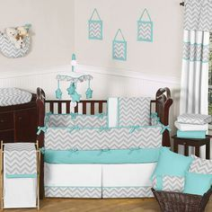 teal and gray baby room ideas | turquoise & grey chevron baby bedding