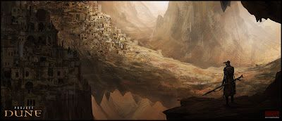 Some beautiful paintings of Arrakis, aka Dune.    I was originally thinking this would go on my Nerdy Stuff board, but the paintings are just too amazing and belong here.
