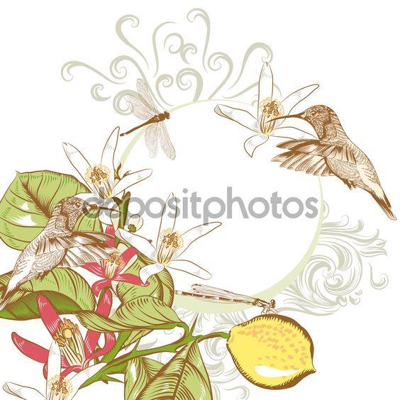 Sfondo floreale invito con fiori di limone per design — Illustrazione stock…