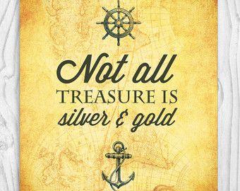 Pirate's Treasure Quotes | Pirate Quote, Nautical Print, Nursery Quote Art Print, Treasure Quote ...