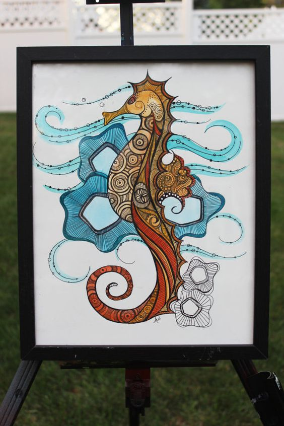 Sale-was 65.00  ORIGINAL Seahorse, Watercolor & ink, Framed, Funky, Nautical, Wall Decor