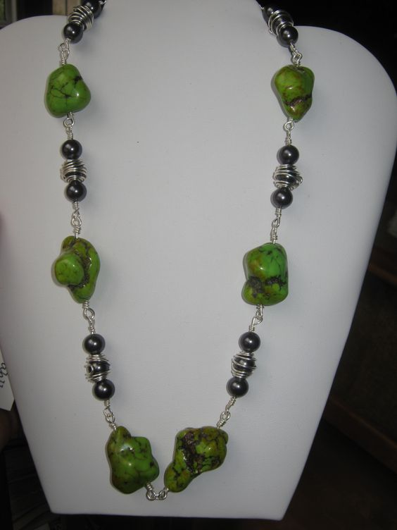 African Lime Turquoise, and Japanese hand caged glass pearls. SOLD