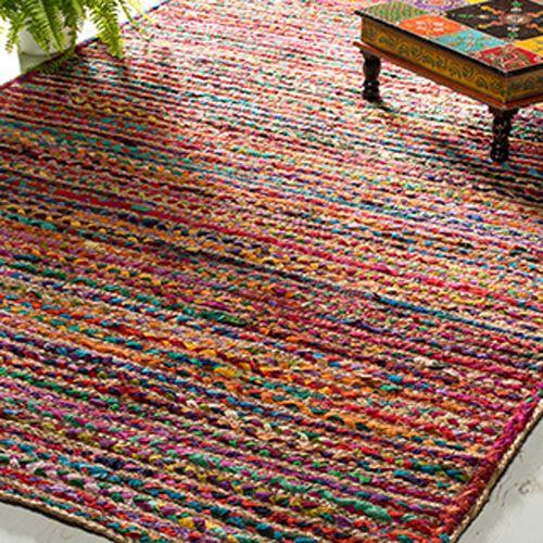 Multi Colour Cotton & Jute Braided Rug 180 cm x 270 cm: