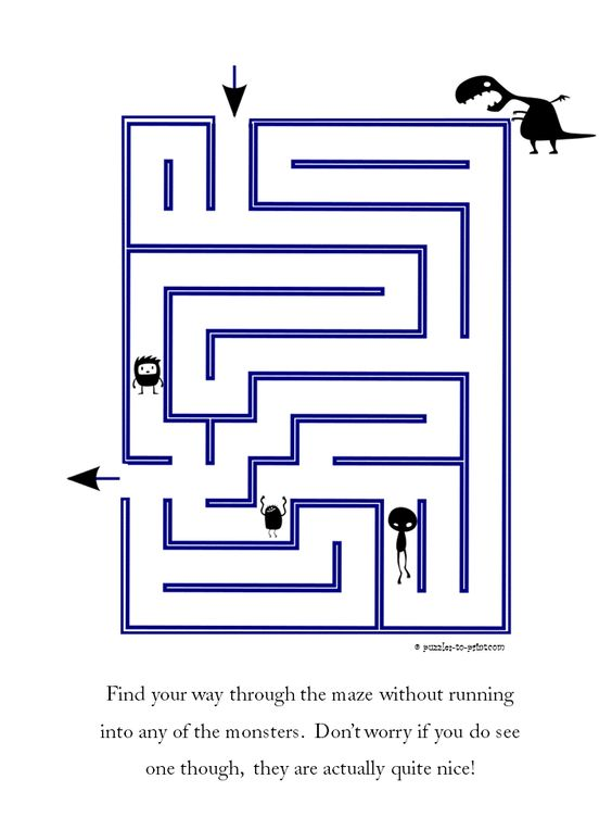 Find your way past the friendly monsters in this easy printable ...