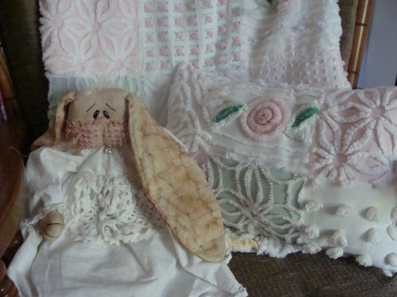 Chenille quilt, handmade chenille bunny and patchwork chenille pillow