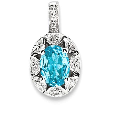 925 Sterling Silver Diamond Blue Topaz Pendant Charm Necklace Gemstone Fine Jewelry Gifts For Women For Her