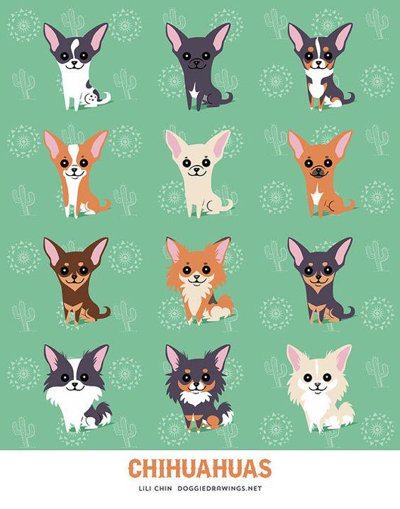 Impresión de arte de Chihuahuas por doggiedrawings en Etsy