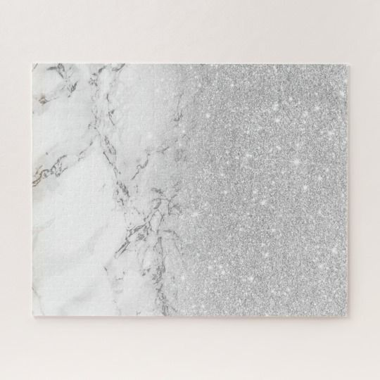 Modern Faux Grey Silver Glitter Ombre White Marble Jigsaw Puzzle Zazzle Com Glitter Wall Art Glam Wall Art Abstract Art Diy
