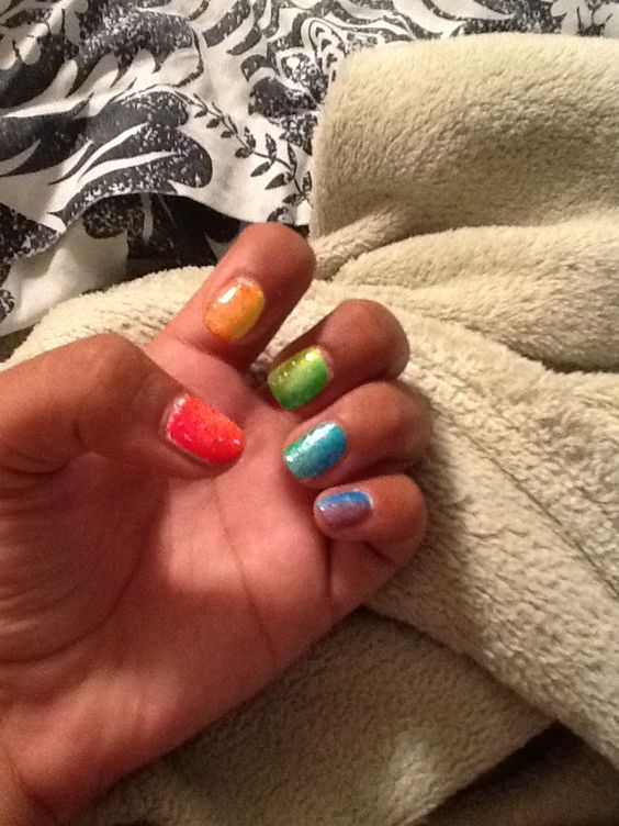 Fun rainbow ombré nails for summer!!!:)