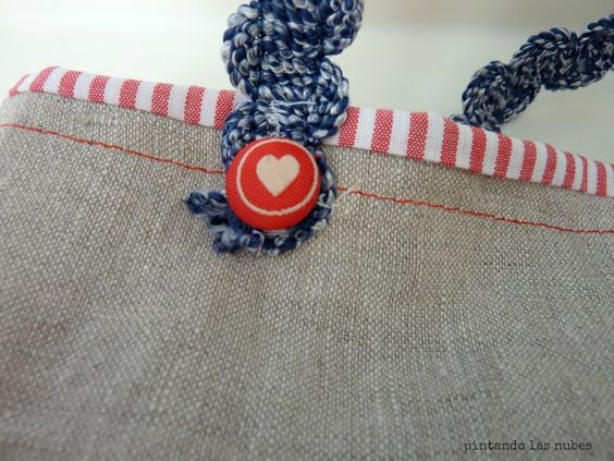 button detail on the bag handles