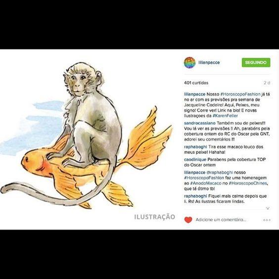 """""""#horoscopofashion no @lilianpacce te conta sobre o #ceuastrologico da semana e dá dicas de moda pros 12 signos. E as ilustras novas, em homenagem ao #anodomacaco de fogo é de #karenfeller."""" Photo taken by @jakeastrologa on Instagram, pinned via the InstaPin iOS App! http://www.instapinapp.com (03/02/2016)"""