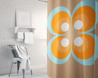 70 S Vintage Shower Curtain Etsy With Images Vintage Shower