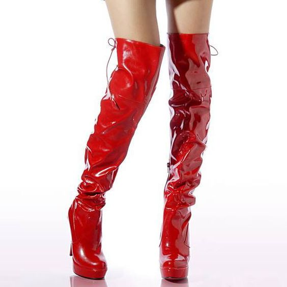 Red Faux Patent Leather Scrunch Lace Up Thigh High Boots | High ...