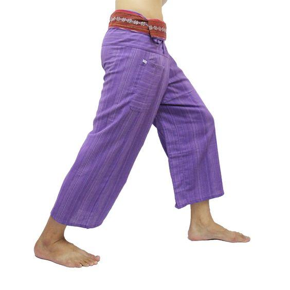 Mauve Thai Fisherman Pants with Thai hand woven fabric on waist side, Wide Leg pants, Wrap pants, Unisex pants  $25.00 Free shipping