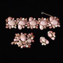 Schiaparelli Pink Seashell Parure; Bracelet, Pin/Brooch, and Clip Earrings