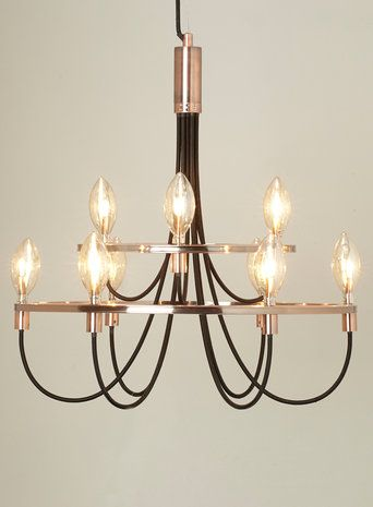 BHS // Illuminate // Frederica candelabra // copper framed candelabra style pendant with black fabric cables and champagne coloured bulb covers