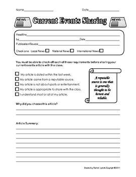 Current events activity worksheet