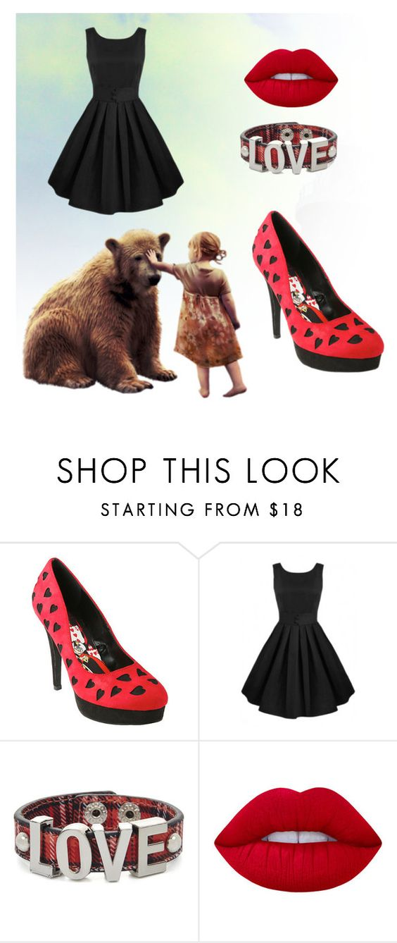"""Red and Black"" by maryamahmud ❤ liked on Polyvore featuring Disney, BCBGeneration and Lime Crime"
