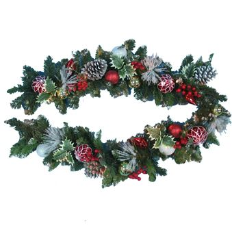 Decorated Garland | Christmas Garland | 6' Non-Lit Decorated Garland with Pinecones Berries and Ornaments - American Sale