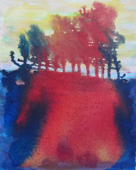 A Forest - Original Abstract Ink Painting on 11x14 Canvas by Stella & Ellie, $35.00