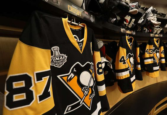 JUNE 01: A detailed view of the jersey of captain Sidney Crosby #87 of the Pittsburgh Penguins is seen in the locker room prior to Game Two of the 2016 NHL Stanley Cup Final between the San Jose Sharks and the Pittsburgh Penguins at Consol Energy Center