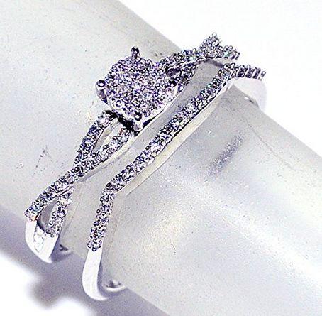 0.25ct Diamond Bridal Set Wedding Rings 10K White Gold  #0.25ct #Diamond #Bridal #Set #Wedding #Rings #10K #White #Gold