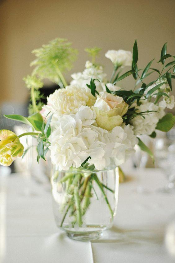 Ivory Hydrangea Rose Centerpiece | photography by http://rebekahwestover.com/