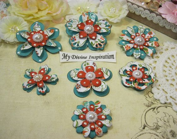 Flowery Teal Orange and White Paper by mydivineinspiration on Etsy