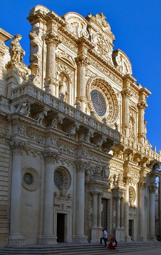 The facade of Chiesa di Santa Croce. Lecce, Italy.