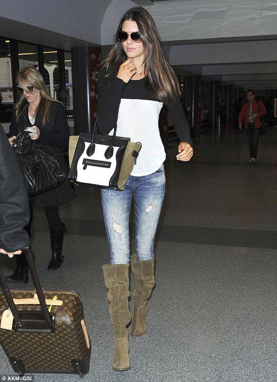Kendall Jenner wearing Louis Vuitton Monogram Canvas Pegase suitcase Celine Boston Bag