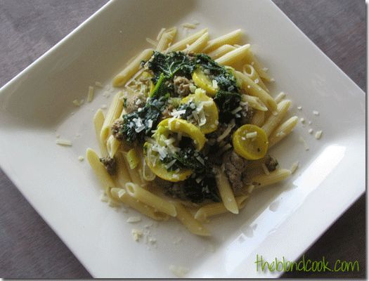 Turkey sausage, kale, squash & leeks over penne pasta.  Yummy & good for you!