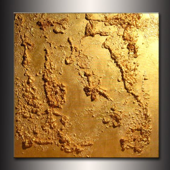 Original texture métallique or abstraite par newwaveartgallery