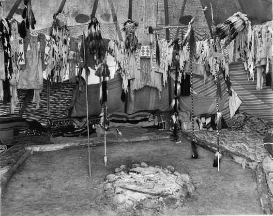 Interior of a Pikuni Blackfeet lodge in Montana - 1909