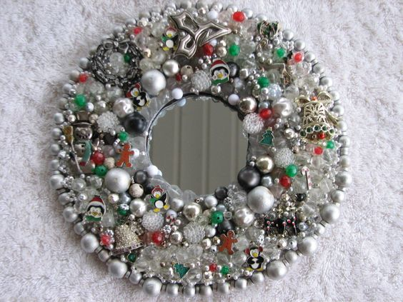 Holly Mirrored Christmas Wreath Decor Art Upcycled Vintage Mod Jewelry | eBay
