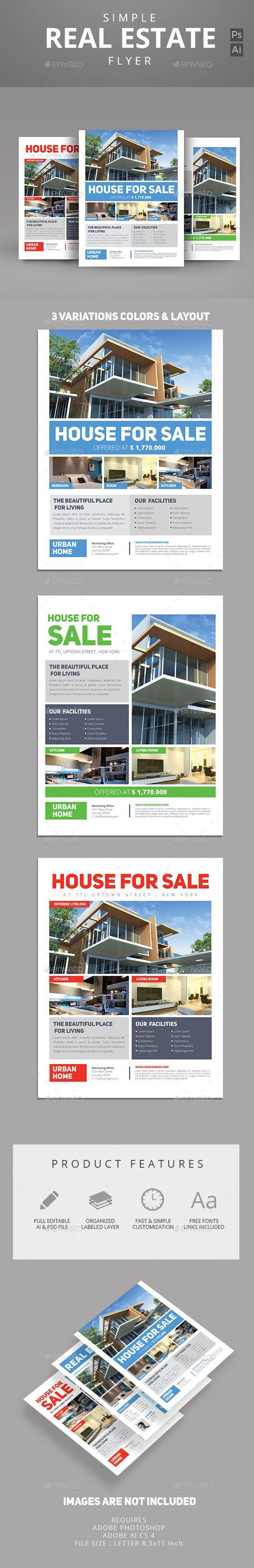 simple real estate flyer design flyer design and simple this real estate flyer template can be used for promote your property product interior design etc features us let