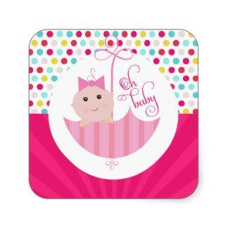 Dotty Baby Girl Oh Baby Shower umbrella Sticker