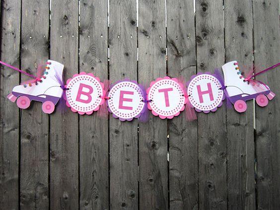 Patín cumpleaños Banner fiesta de cumpleaños de por CraftyCue