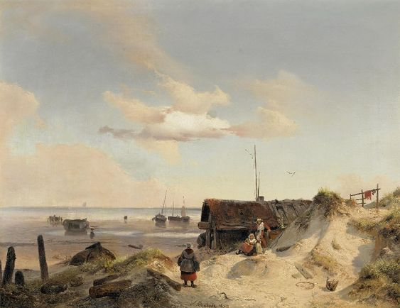 "Andreas Achenbach, ""Fischerkaten in den Dünen""- Fishermens' cabins on the dune"