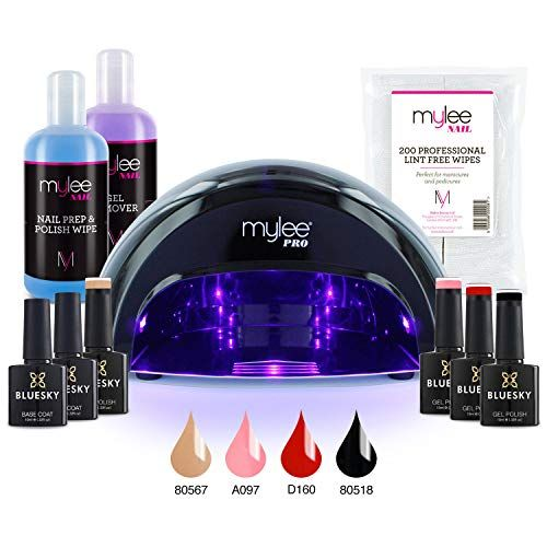 Mylee Complete Professional Gel Nail Polish Led Lamp Kit Including 4x Bluesky Colours Top Base Coat Mylee Pro Led Nail Lamp Gel Remover Gel Polish Colors