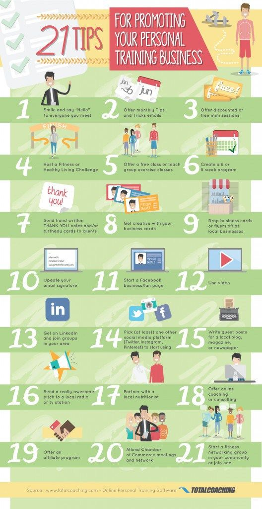 21 Tips for Promoting your Personal Training Business ⦗INFOGRAPHIC⦘