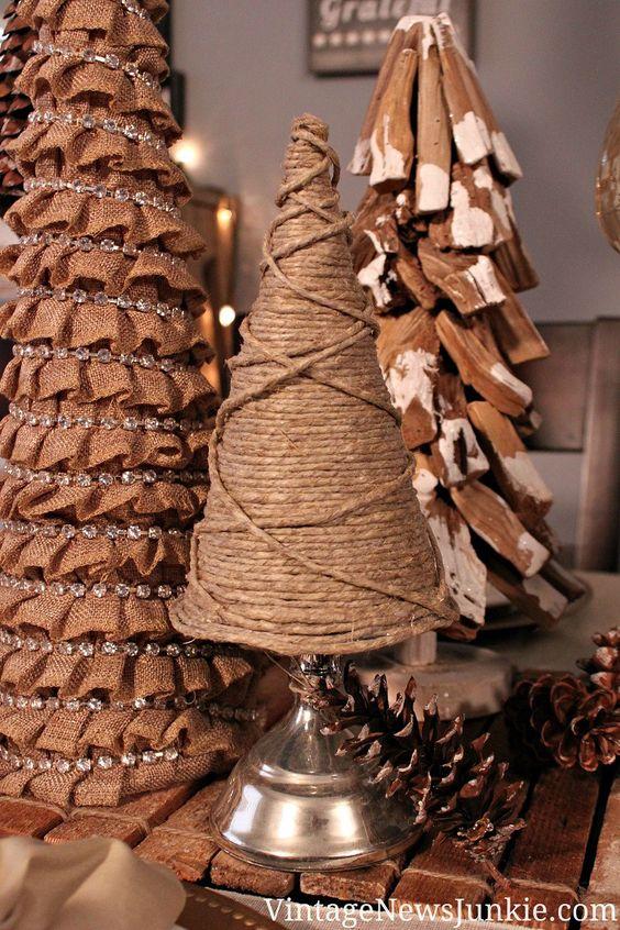 arbolito de navidad con tela rústica