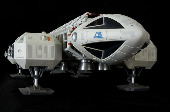 """Dramatic front view of 44"""" Eagle model from Space 1999. This is one of 25 meticulously crafted resin kits from Comet Miniatures in UK. It was released in November 1999. This example built by Jon Wilson."""